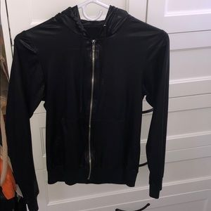 American apparel light leather zip up